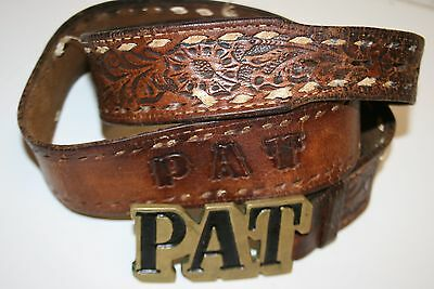 Vintage Name Monogram PAT Solid Brass Belt Buckle & Leather PAT Belt Rare