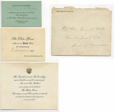 1927 President Coolidge White House Three Part Invitation With Envelope