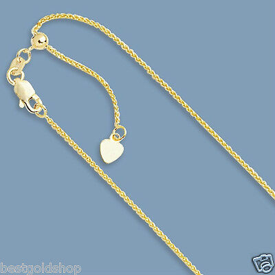 """1mm Up to 22"""" Solid Adjustable Wheat Spiga Chain Necklace Real 10K Yellow Gold"""
