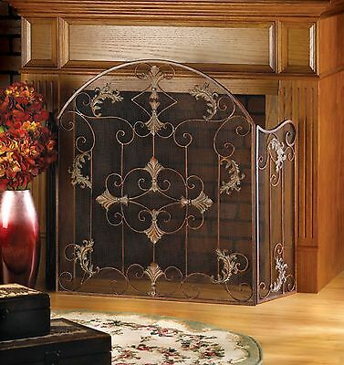 Antique Style Wrought Iron Italian Design Folding Fireplace Screen