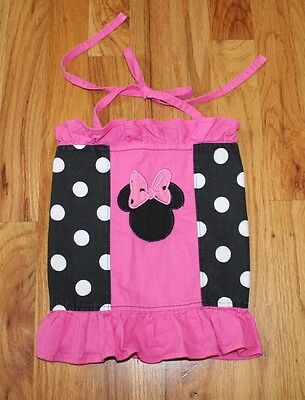 Girls Custom Boutique Black Pink Polka Dot Minnie Mouse WDW Disney Halter Top 2T