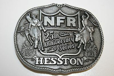 Vintage 1983 NFR Rodeo Cowboy Western Hesston 25th Anniversary Belt Buckle