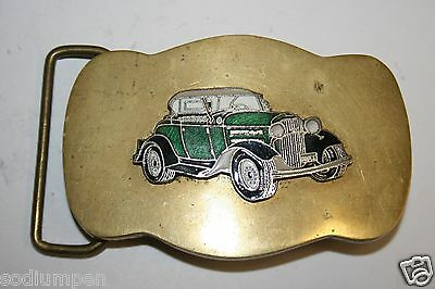 Vintage 1970's Solid Brass 1930's 40's Green Ford Deluxe Roadster Belt Buckle