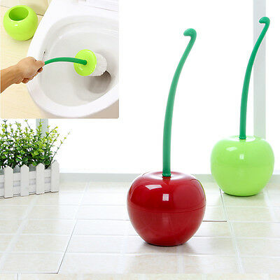CHERRY- Toilet Brush & Holder Standing Set Bathroom Accessories Home WC Cleaning