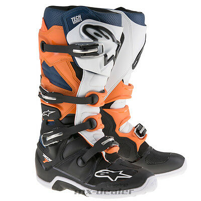 Alpinestars Tech7 Tech 7 Stiefel orange blau mx motocross Enduro Cross boot
