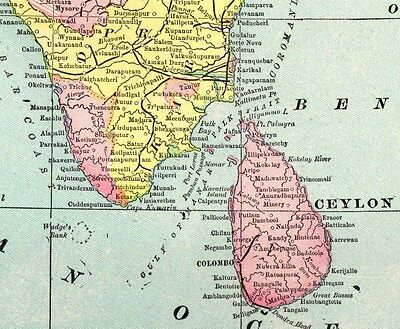 1901 Antique INDIA MAP of India Gallery Wall Art Original Map of India 3057