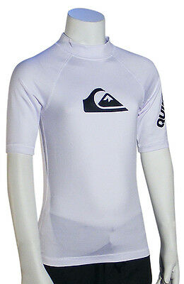 Quiksilver Boy's All Time SS Rash Guard - White - New