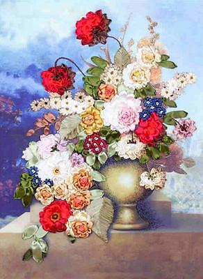 Ribbon Embroidery Kit A Pot of Blooming Flowers Needlework Craft Kit XZ1047