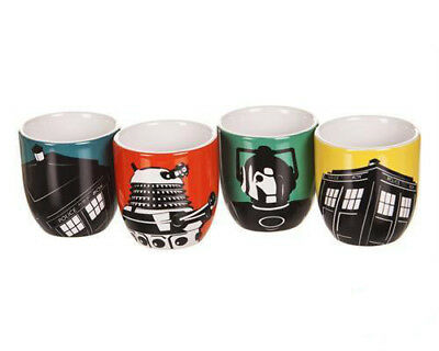 New Official Dr Who Ceramic Set Of 4 Egg Cups New In Tardis Themed Gift Box