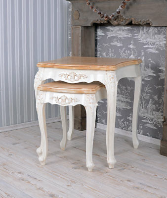Tables Gigognes Tables d'Empilage Shabby Chic Shabby Chic Deux Tables Vintage