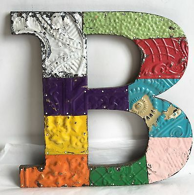 "Large 1890's Tin Ceiling Wrapped 16"" Letter 'B' Patchwork Metal Antique Chic B4"