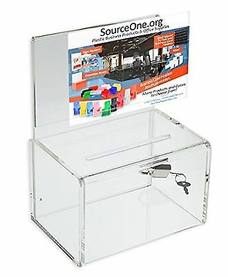 Source One Small 5-Inch Wide Deluxe Oblong Donation Box with Ad Frame & Free ...