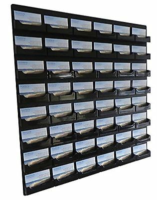 Source One 48 Pocket Wall Mount Business Card Holder Rack, Black Acrylic (BC-...