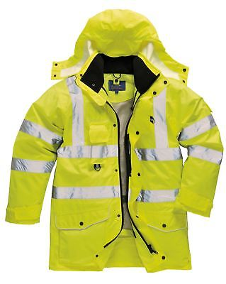 Portwest HI VIS 7-in-1 Traffic Jacket Safety Coat Detachable Hood S - 5XL S427