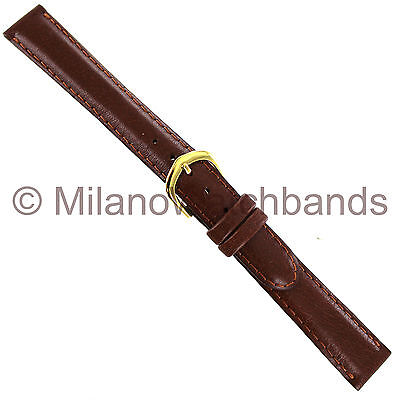 14mm deBeer Havana Handcrafted Smooth Leather Padded Stitched Ladies Watch Band