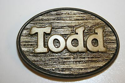 Vintage 1970s Small Oval Todd Name Wooden Look Brass Belt Buckle Rare
