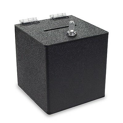 Source One BLACK 10 Inch Cube Donation Box with Cam Lock Suggestion Registrat...