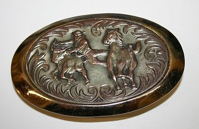 Vintage Nickle Silver Plated Rodeo Cowboy Western Horse Belt Buckle RARE