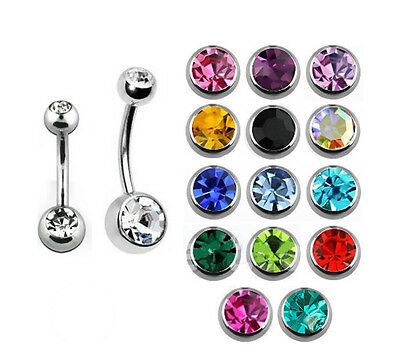 Double Gem Belly Bar Navel Piercing Surgical Steel with CZ Gems