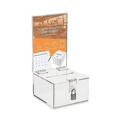 Source One Premium Clear Acrylic Display Donation Box - Ballot Box - Ticket B...
