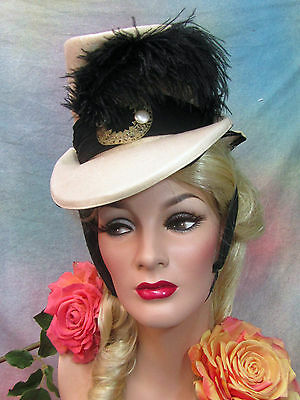 VINTAGE 1939 Ladies RIDING HAT tan wool felt ATTACHED SNOOD Gone With The Wind