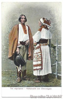 POSTCARD rare old Slovak peasant couple Cicmany folk costume colored photograph