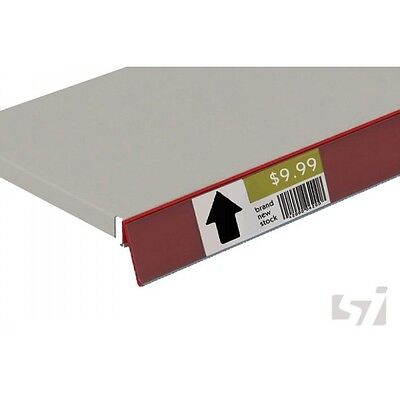 50 x Angled Data Strip 26x1000mm Red store shops POS display