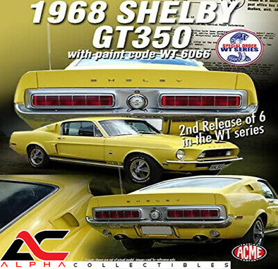 Acme A1801806 1:18 1968 Ford Shelby Mustang Gt350 Special Order Yellow Wt6066