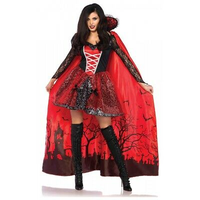 Female Vampire Costume with Cape Adult Halloween Fancy Dress