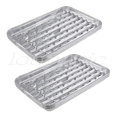 2 Sets Large Disposable Aluminum Foil Barbecue Grill Plate for Picnic Barbecue