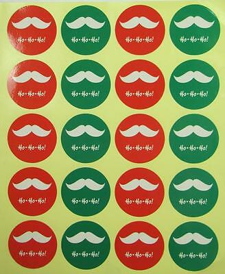 CHRISTMAS STICKERS 40 HO HO HO MOUSTACHE labels seals gift wrapping treat bags