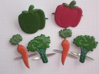 BB BRADS VEGETABLES pk of 6 cooking cook book scrapbooking craft split pin