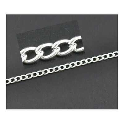 Length Of 10 Metres Silver Plated Alloy 3.5 x 5mm Link-Opened Curb Chain CH2970