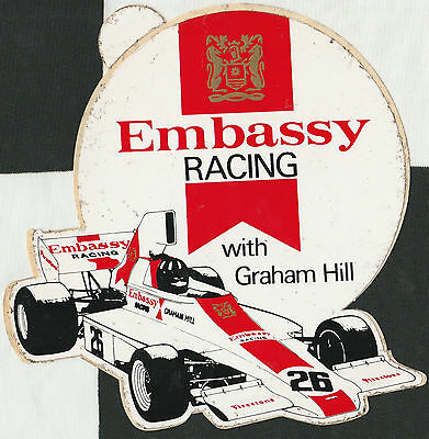 Embassy Racing With Graham Hill Ford Gh1 F1 1975 Original Period Sticker Adesivo