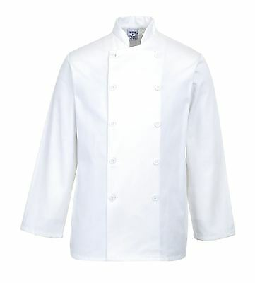 Portwest Sussex Chef Jacket Coat Cook Food Kitchen Catering Work Uniform C836