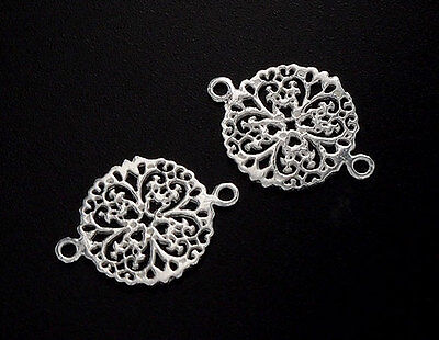 925 Sterling Silver 2 filigree Flower Connectors,Links 13mm.