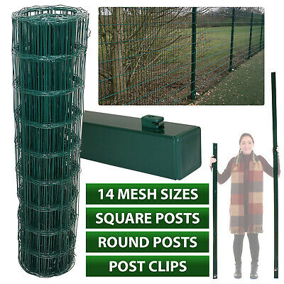 PVC GREEN COATED GARDEN MESH WIRE FENCE FENCING 0.6 0.9 1.2 1.5 1.8M Metal Post