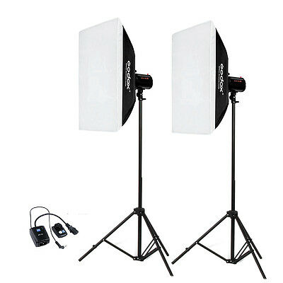 Godox 2*Mini Pioneer 200 400Ws pro Studio Flash Strobe Softbox light stand Kit