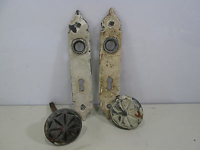 Vintage Door Knob and Backplate Set- Rustic Cottage Style