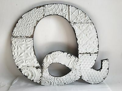 "Large Antique Tin Ceiling Wrapped 17"" Letter 'Q' Patchwork Metal White B15"