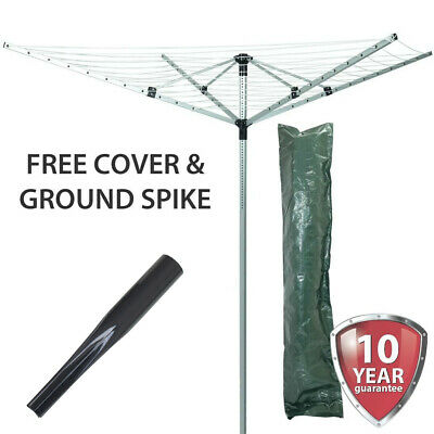 4 Arm 50M Rotary Airer Aluminium Clothes Dryer Outdoor Laundry Washing Line Spin