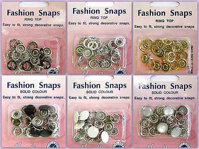 Fashion Snaps Popper Stud Fasteners Ring Solid Top Choose Style 11mm 6 Sets