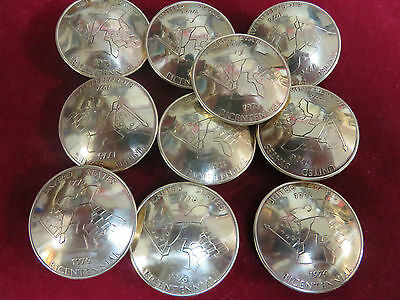 Conchos: 10, Bicentennial Tokens, solid brass, Post and Screw