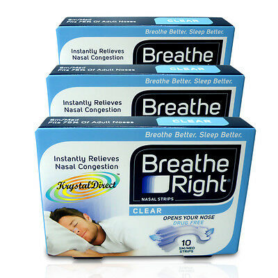 3x Breathe Right Nasal Strips 10 Clear Small/Medium