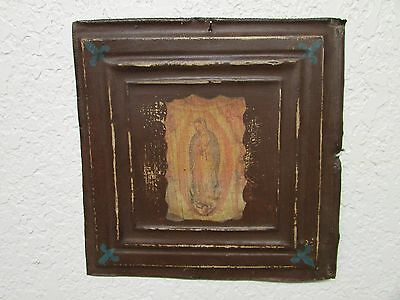 Virgen de Guadalupe-Antique Ceiling Tin Wall Art #5-12x12 in-Primitive-Vintage