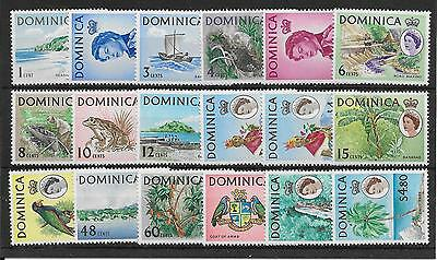 Dominica Sg162/78 1963-5 Definitive Set Of 18 Mnh
