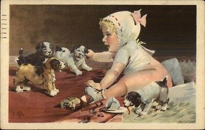 Cute Little Baby Girl & Puppy Dogs Postcard