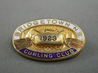 Enameled Bridgetown Nova Scotia Enameled Curling Club Pin 1923