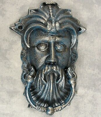 KING NEPTUNE Cast Iron DOOR KNOCKER ~ MYTHICAL SEA GOD ~Antiqued Bronze & Blue~