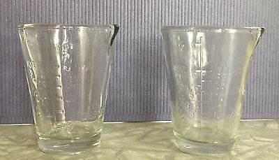 Two Small Vintage Clear Glass 1.5 OZ Measuring Glasses Table Dessert Tea